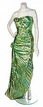 * An Emanuel Ungaro Green and Metallic Gold Evening Gown, Size 8.