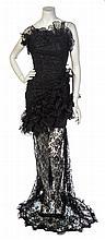 * An Emanuel Ungaro Black Lace Strapless Dress, No size.