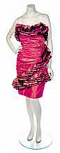 * An Emanuel Ungaro Iridescent Pink Strapless Cocktail Dress, Size 10.