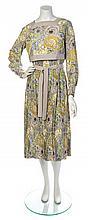 * An Emanuel Ungaro Grey Silk Floral Dress, No size.