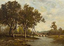 * Leon Richet, (French, 1847-1907), Landscape with Village
