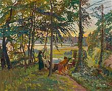 * Johannes Norretranders, (Danish, 1871-1957), Landscape with Figures, 1928