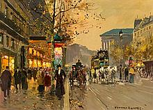 Edouard Leon Cortes, (French, 1882-1969), Paris Street Scene with Horse and Carriage
