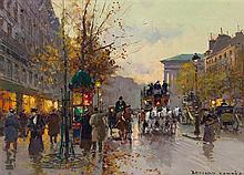 * Edouard Leon Cortes, (French, 1882-1969), Parisian Street Scene