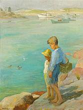 * Adam Emory Albright, (American, 1862-1957), Two Boys on Rock Cliff, Maine Coast