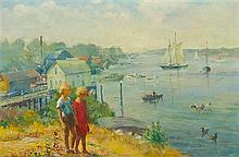 * Adam Emory Albright, (American, 1862-1957), Two Boys at Harbor Hill, Booth Harbor Maine