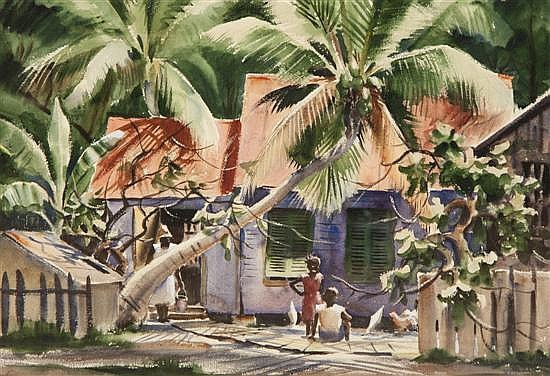 *Avery Fischer Johnson, (American, b. 1906), Children Under Palm