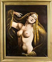 Unidentifizierter Maler um 1930, Art déco-Nackttänzerin, Öl/Lwd., u. re. undeutl. sign. u. dat. 'Aug. 1936', 91 x 73 cm, ger. 88 x 108 cm