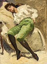 Unidentifizierter Maler um 1930, zwei ganzfigurige Damenbildnisse in impressionistisch aufgefassten Interieurs, Öl/Karton, unsign., 33 x 25 cm, ger. 48 x 40 cm