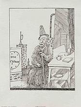 Walter Wellenstein (1898-1970), dt. Maler u. Grafiker, tätig in Berlin, Konvolut von 5 Federzeichnungen von 1970, 'Israelitische Fruchtbarkeitsgöttinnen', 'Der Clown', 'Bialas Geschichten....', 'Bei Vollmond an der Küste...', 'Ölquellen...', jew.