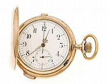 Herrensprungdeckeltaschenuhr GG 585/000 3 Deckel mit Viertelstundenrepetition und Stoppfunktion, Chronograph, Geneve 1896, weißes Emailblatt, läuft, sollte gereinigt werden, D. 58 mm, 121,3 g