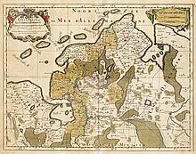 Historische Karte von Ostfriesland, 'Oost-Frise, ou le Comté d'Embden...', kol. Kupferstich von Sanson, in Paris bei Jaillot um 1690, mit dekorativer Titelkartusche, Mittelfalz, etwas fleckig u. gebräunt, Plattengröße ca. 43,5 x 57 cm, hinter