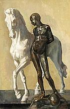 Gianni R., unidentifizierter Maler um 1930, Stillleben aus Pferdeskulptur und Bronzejüngling, Öl/Karton, u. re. sign. u. dat. 1933, 60 x 40 cm