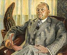 Naben Kopun (?), wohl jugoslawischer Maler um 1930/40, Portrait eines Mannes mit Schriftstück und Zigarre in seinen Händen, Öl/Lwd., u. re. sign., 85 x 100 cm, ger. 100 x 120 cm
