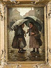 Unidentifizierter Maler um 1900, wohl Berliner Secession, zwei kleinwüchsige, alte Damen unter Regenschirmen palavern auf der Strasse, Öl/Karton, unsign., 19 x 13 cm, ger. 24 x 18 cm