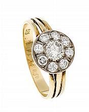 Brillant-Ring GG 585/000 mit einem Brillanten 0,48 ct l.get.W/PI und 8 Brillanten, zus. 0,50 ct W/SI, RG 61,3,5 g
