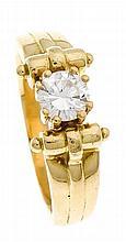 Brillant-Ring GG 750/000 mit einem Brillanten 0,508 ct TW/VS, RG 55,7,9 g