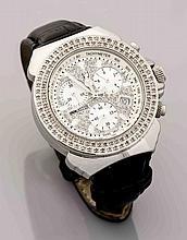 Lancaster Diamant-Damenarmbanduhr Stahl Ref. 0255, Quartz, mit Stoppfunktion, Datum, Sekunde, besetzt mit Diamanten, zus. 1,75 ct, schwarzes Lederband mit Faltschließe, D. 39 mm,76,9 g