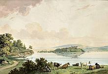 Carl Kuntz 1770-1830), deutscher Maler und Radierer, studierte an der Mannheimer Zeichenschule, Studienaufenthalt in der Schweiz, 'Bodenseelandschaft mit Blick auf die Insel Mainau', Gouache, li. u. sign. u. dat. 1809, leichte Wasserränder, 47 x