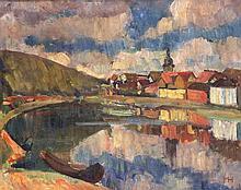 Monogrammist MH um 1910, expressive Landschaft mit dörflicher Kulisse, Öl/Lwd., u. re. monogrammiert, 60 x 74 cm, ger. 74 x 88 cm