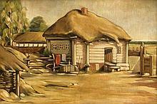 Russischer Maler 1. H. 20. Jh., Ansicht eines Hofes im neusachlichen Stil, Öl/Holz, unsign., rückseitig bez. 'Nikoluikowo/Rylsk' (?), sowie dat. 1942, 35 x 51 cm, ger. 63 x 46 cm