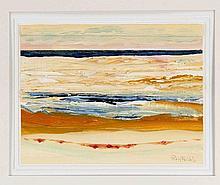 Pit von Frihling (1919-2011), Hamburger Maler, Konvolut von drei abstrahierten Seestücken, Öl auf Strukturpapier, jeweils handsign.,10,5 x 15 cm, hinter Passepart. 30 x 26 cm