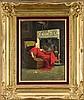 Jean Georges Vibert (1840-1902), frz. Maler, bekannt für seine Darstellungen geistlicher Würdenträger in ganz alltäglichen Situationen, hier sitzt ein Kardinal am Kamin und genießt mit geschlossenen Augen seinen Espresso und seine Zigarette,, Jehan Georges Vibert, €1,500