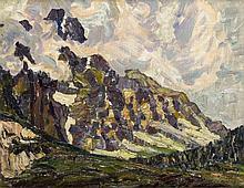 Unidentifizierter Monogrammist um 1910, impressionistische Gebirgslandschaft in pastosem, kräftigen Duktus, Öl/Malkarton, u. re. mit ligiertem Monogramm HMHC, 39 x 49 cm, ger. 55 x 65 cm