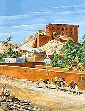 Günter Löper (1916-1993), dt. Maler, Graphiker und Orientalist, unternahm 1940-90 zahlreiche Studienreisen nach Nordafrika, Italien und Griechenland, tätig in Berlin, 'Laghouat', Ansicht der nordalgerischen Stadt Laghouat am Nordrand der Sahara