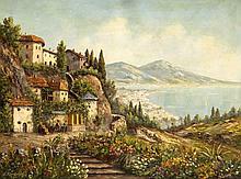 Erich Rudolph (1913-?), Blick über den Golf von Neapel mit dem Vesuv im Hintergr., Öl/Lwd., u. li. sign., 60 x 80 cm, ger. 74 x 94 cm