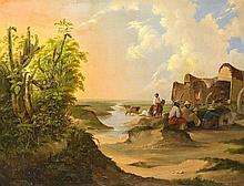 Carl Wilhelm Uhl (1812-1859), Rastende Viehhirten mit Planwagen, abendlich gestimmte, pittoreske Szene an einem Fluss im Süden der USA bzw. im Norden Mexikos, fein gemaltes, spätromantisches Werk des an der Berliner Akademie ausgebildeten