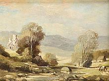 L. de Vogel (*1923), Maler in Rotterdam, hügelige Landschaft mit Brücke über einem Flüßchen und Figurenstaffage, Öl/Holz, unsign.,15,5 x 22 cm, ger. 32 x 36 cm