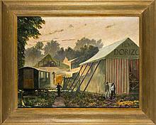 Léon Cugnet (tätig ca. 1889-1912), frz. Maler, stellte 1910-1912 im Salon in Paris aus, Landschaft mit Zelten, Wagen und Schaustellern, pittoreske, morgendliche Szenerie mit dicht gedrängten Zelten, vor den eine kleine Gruppe von Schaustellern