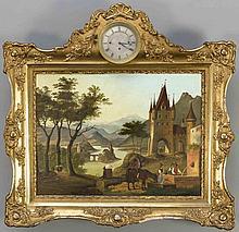 Bilderuhr, süddt. um 1850, idyllische deutsche Flusslandschaft im Abendlicht mit rastender Gruppe an einem Brunnen vor einem Burgtor, Öl/Blech, im Giebel des Rahmens eingelassene Uhr, Bildmaße 49 x 64 cm, ger. 83 x 84 cm