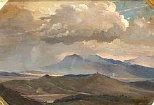 Girolamo Pieri B. Nerli (1860-1926), italienischer Maler, reiste 1885 nach Australien und Neuseeland, wo er die meister Zeit tätig war, von dort stammt auch diese atmosphärische Landschaftsstudie, Öl/Karton, u. re. signn. 'Nerli', die Ecken