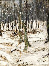 Unidentifizierter Maler um 1915, impressionistisches Waldstück im Winter unter Einbezug des Malgrundes, u. re. Ritzsignatur u. dat. 'Enterhusen (?) 1915', 69 x 50 cm, ger. 76 x 56 cm