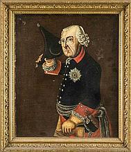Anonymer Maler um 1800, der alte Fritz als Halbfigur, Öl/Lwd., unsign., auf Karton aufgezogen, retusch., 38 x 45 cm, ger. 47 x 54 cm