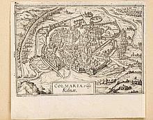 Braun und Hogenberg, Konvolut von vier Ansichten des 16. Jh's aus 'Civitates orbis terrarum', Panorama von Sevilla mit Figurenstaffage, sowie Ansichten aus der Vogelschau von Colmar, Rouffach und Weissenburg, letzteren beiden von der reparierten