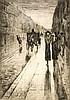 Lesser Ury (1861-1931), Spaziergänger und Pferdedroschke im Regen, Radierung mit Kaltnadel um 1920, unsign., Plattenmaße ca. 20,5 x 14,5 cm, hinter Glas u. Pp. ger. 39 x 32 cm, Lesser Ury, €100