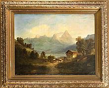 Unidentifizierter Maler Ende 19. Jh., große alpine Landschaft mit Heuernte in einem Dorf am Ufer eines Bergsees, Öl/Lwd., unsign., Ausbesserungen am u. Rand, 74 x 102 cm, ger. 108 x 132 cm