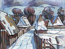 Michail Dziadyk (*1940), ukrainischer Maler, studierte an der Kunsthochschule Lwow, nahm ab 1990 an diversen internationalen Ausstellungen teil, u.a. die Biennale und Ukrintere, verschneites Dorf, Öl/Lwd., u. re. sign. u. dat. (19)92, verso bez. u.