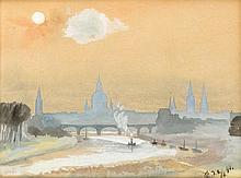 Monogrammist GR, 2. H. 19. Jh., Silhouette von Dresden mit Elbe und Elbbrück eim Vordergr., Temperamalerei auf Papier, u. re. monogrammiert u. dat. (18)90, 22 x 28 cm, hinter Glas ger. 29 x 36 cm