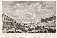 Guérard de la Barthe (1730-1810), in Russland tätiger Maler und Grafiker, zwei große und seltene Moskauer Ansichten, 'Vue des montagnes de glase pendant le Carneval a Moscou', sowie 'Vue du punt de la Yaouse et de la maison de Mr. Chapkine a