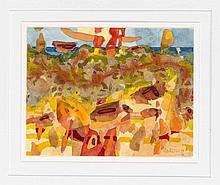 Pit von Frihling (1919-2011), Hamburger Maler, Konvolut von drei abstrahierten Landschaften, Aquarell auf Papier bzw. Karton, jeweils handsign.,10,5 x 13 cm, hinter Passepart. 30 x 24 cm