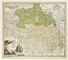 Historische Karte der Lausitz, 'Marchionatus Lusatiae...', teilkolorierter Kupferstich bei Homann in Nürnberg um 1720, dekorativer Wappenkupfer sowie figürliche Kartusche, 48 x 57 cm, hinter Glas u. Pp. ger. 68 x 77 cm