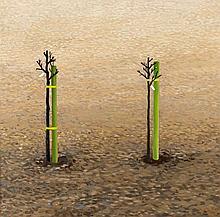 Peter Graemer (*1939), in Chemnitz geborener, zeitgenössischer Maler, studierte von 1957 bis 1960 an der Fachschule für angewandte Kunst in Potsdam und von 1960 bis 1966 an der Hochschule für Bildende Kunst in Berlin, zwei frisch gesetzte Bäume