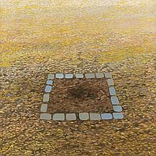 Peter Graemer (*1939), in Chemnitz geborener, zeitgenössischer Maler, studierte von 1957 bis 1960 an der Fachschule für angewandte Kunst in Potsdam und von 1960 bis 1966 an der Hochschule für Bildende Kunst in Berlin, Pflasterquadrat, Öl/Lwd., u.