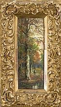 Franz Josef Georg Illem (1865-1912), Schüler der Düsseldorfer Akad. unter H. Lauenstein und P. Janssen, lebte als Maler in Wien, Paar Waldstücke, eine winterliche u. eine herbstliche, mit Figurenstaffage, Öl/Holz, jew. sign., hinter Glas in