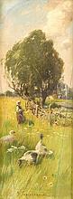 Roman Kochanowski (1856-1945), Magd mit Gänsen auf einer Sommerlichen Wiese, Öl/Holz, u. mi. sign., Platte umlaufend mit schlüssellochförmigem Schnitt, dieser retusch., 29 x 11 cm, 39 x 22 cm