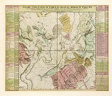 Himmelskarte 'Globi coelestis in tabulas planas redacti pars VI', altkol. Kupferstich, bei Homann in Nürnberg um 1720, 49 x 58 cm, hinter Glas u. Pp. ger. 67 x 76 cm